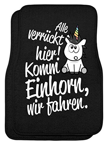 Shirtee Auto-Matten Komm Einhorn, wir fahren. - Automatten -44x63cm-Schwarz
