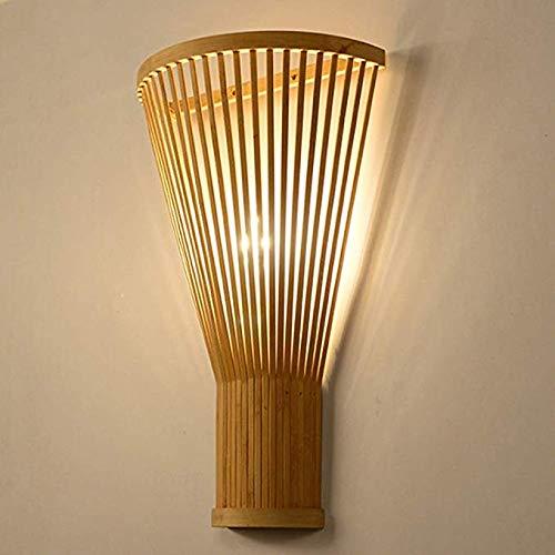XTF-LIGHTS Lámpara De Pared De Bambú Tejida A Mano Minimalista Moderna Pantalla De Bambú Verde para Sala De Estar Dormitorio Mesita De Noche Comedor Lámpara De Pared