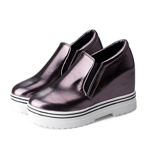 VogueZone009 Femme Rond à Talon Haut Tire Couleur Unie Chaussures Légeres Gris