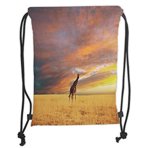 ck Backpacks Bags,Giraffe,Animal in Savannah Under Large Clouds at Sunset African Wildlife Themed Safari Decorative,Yellow Blue Mauve Soft Satin,5 Liter Capacity,Adjustable ()