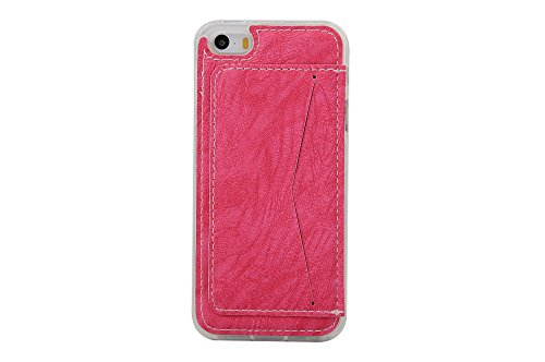 Coque Apple iPhone 5 5S, Forhouse Ultra Mince Doux Flexible TPU Cover Flip PU Cuir Card/Cash Holder on Case with Kickstand Poids Léger Full Protector Anti-Rayures Shockproof Cover pour Apple iPhone 5  Rosé
