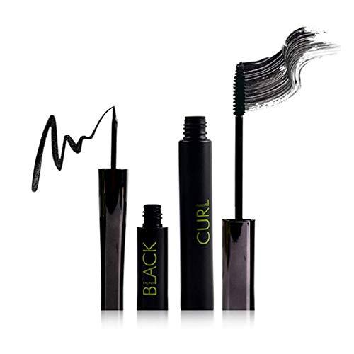 Meisijia 2Pcs / Set Long Lasting Maquillage Mascara Noir étanche + Liquid Eye Liner No Fade Outils cosmétiques Kit