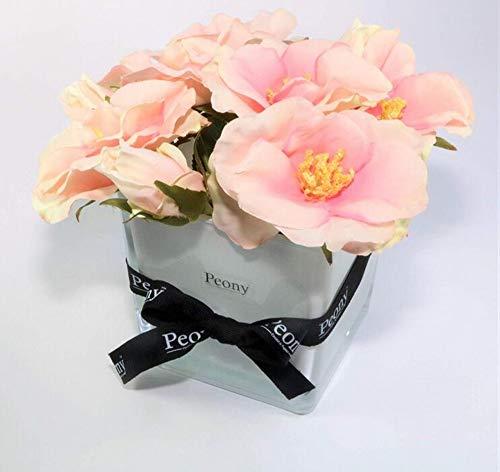 suluxin Blumen-Weinlese-Künstliche Hauptdekorationrosafarbene Hartriegel-Rosen Stellten In Eine Weiße Glaswürfelvase Mit Einem Pfingstrosenband EIN (Hartriegel-künstliche Blume)