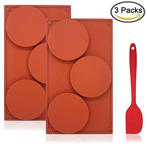 Molde de silicona de 3 cavidades redondas para tartas de DaKuan, con espátula de silicona, antiadherente...