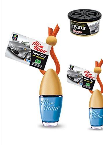 New Car Duftset 2 Stylisch-modische Air Natur Little Bottle Duftflakons Lufterfrischer Auto- und Raumduft 6ml + 1 Organic Can Duftdose -