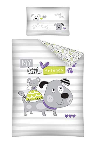 Kinderbettwäsche viele Designs 2-tlg. 100% Baumwolle 40x60 + 100x135 cm (Dog grau-lila)