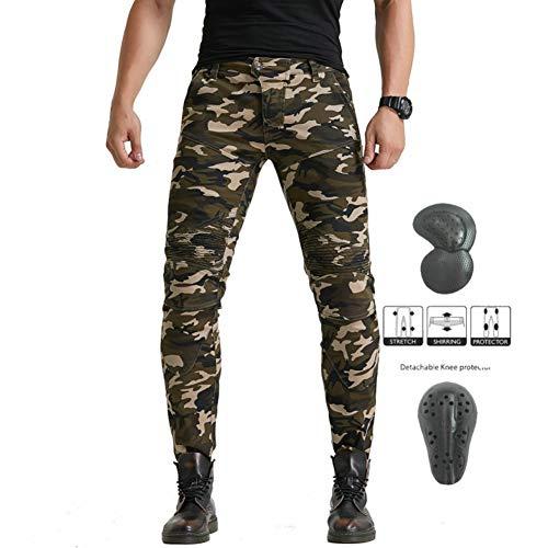 Xcomir Herren Motorrad Reithose Drop Slim Hose High Stretch Motorrad Jeans Gürtel Protector Four Seasons Camouflage Pants