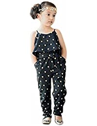 Kolylong Kids Girls Love Heart Straps Rompers Jumpsuits Piece Pants Clothing