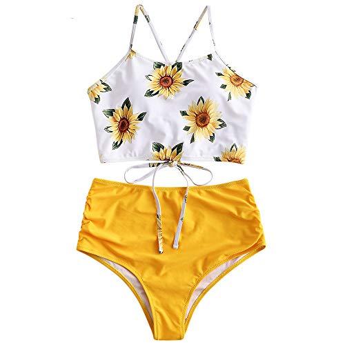 ZAFUL Damen Hohe Taille Sonnenblume Floral Tankini Set Badeanzug Helles Gelb S -
