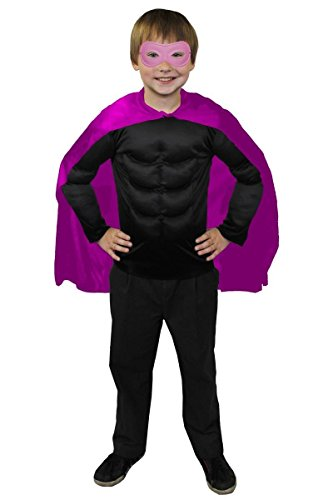 Maske Kostüm Daredevil Schwarz - ILOVEFANCYDRESS SUPERHELDEN Hero Kinder Jungen MÄDCHEN KOSTÜM VERKLEIDUNG =ROSA UMHANG+ROSA Maske +MUSKELSHIRT IN 6 Farben+ 2 GRÖSSEN=Fasching Karneval=SCHWARZES Muskel Shirt-XLarge