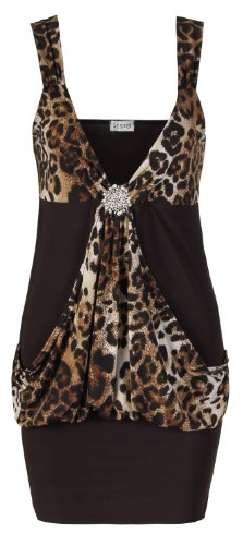 Fast Fashion Damen Plus Size Leopardenmuster Drapieren Vor thematisieren Partykleid Top (EUR 40/42 - UK (12-14), Brown) (Brown Animal Print Top)