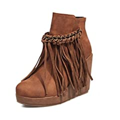 c7ee60b25d2 SHANGWU Women s Ankle Boot Fringe Hidden Wedge Heel 8cm Trainers Fashion  Ankle Boots Lace Up Side Zip High Top Platform Casual Boots Suede Size uk  3-9 ...