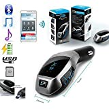 COSMO-X™ X5 Bluetooth Car Kit MP3 ||Multimedia Player Wireless Bluetooth|| FM Transmitter Radio Adapter ||Car Charger With USB SD Card Reader And Handsfree Calling Remote Control , Perfect For Apple, Samsung, HTC, LG Or Other Smartphones & Tabs