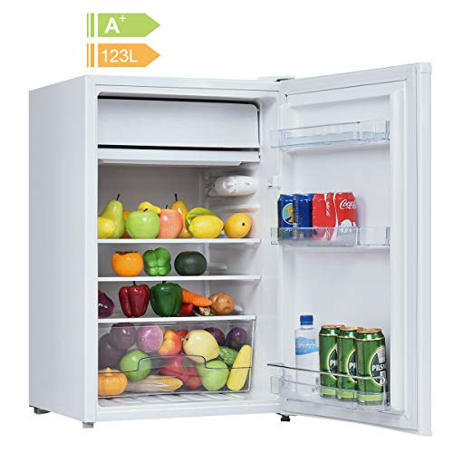 COSTWAY Kühlschrank mit Gefrierfach Minikühlschrank Standkühlschrank Kühl-Gefrier-Kombination Hotelkühlschrank/A+/ 123L - Transparent Mini-kühlschrank