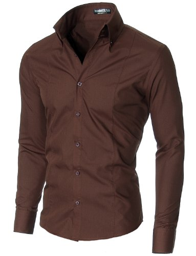 MODERNO - Slim Fit Manches Longues Habillee Chemise Homme (MSSF501) Marron