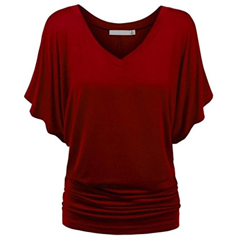 Hevoiok T-Shirt Bluse Damen Sommer Einfarbige Casual V-Ausschnitt Fledermaus Ärmel Shirt Tops Oberteil Locker Hemdbluse S-2XL (Weinrot, S) (Kostüm Ballerina Fledermaus)