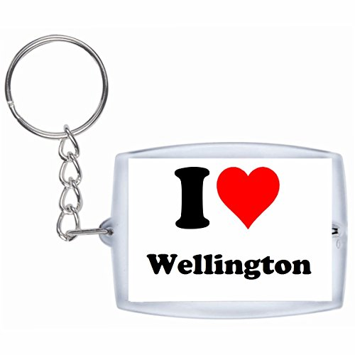 Druckerlebnis24 Schlüsselanhänger I Love Wellington in Weiss, eine tolle Geschenkidee die von Herzen kommt| Geschenktipp: Weihnachten Jahrestag Geburtstag Lieblingsmensch Wellington Quad