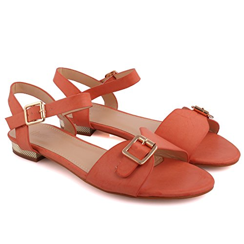 Unze Neue Frauen 'Caroline' Sling zurück Sommer-Strand-Partei erhalten zusammen Karneval-beiläufige flache Sandelholze Großbritannien-Größe 3-8 - 1J3561-7 Orange