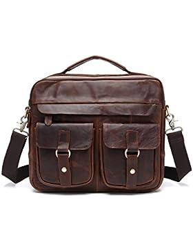Joyir Leder Umhängetasche Laptoptasche 15 Zoll Ledertasche Vintage Unitasche Collegetasche Henkeltasche