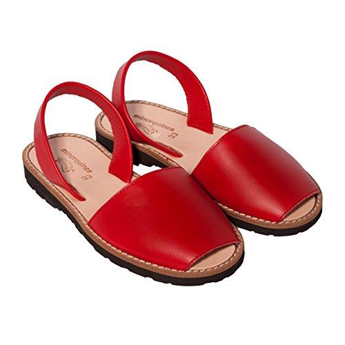 Minorquines - Sandales Avarca Cuir Pomodoro - Enfant Rouge
