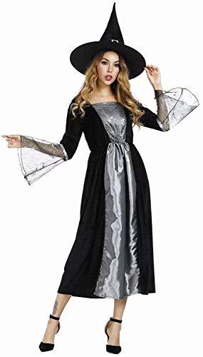aizen Hexenkostüm Erwachsene Hexen kostüm lang edel mit Hut Damen Hexenkleid Fasching Halloween Cosplay Silber 2XL