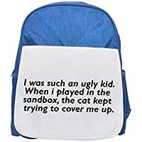 Yo era un niño tan feo. Cuando jugé en la caja de arena, el gato trató de cubrirme. Mochila azul infantil estampada, mochilas lindas, mochilas pequeñas y lindas, mochila negra, mochila negra fría, fas