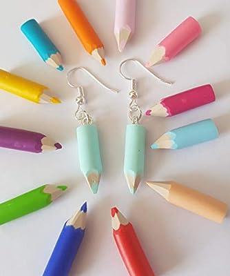 boucles d'oreilles crayon de couleur vert pastel,cadeau ecole,cadeau maitresse,cadeau atsem
