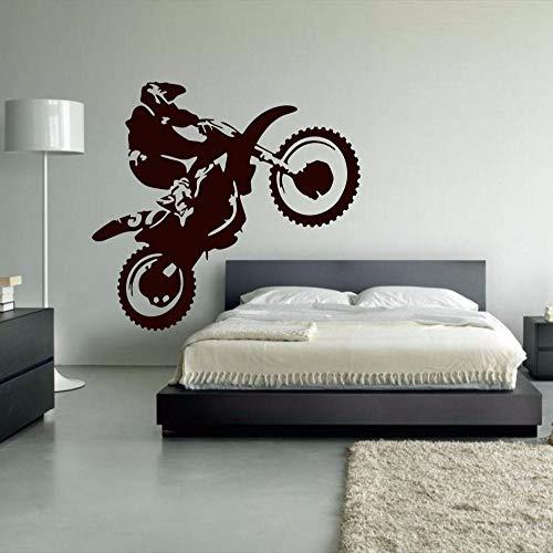 jiuyaomai Motocross Vinyl Wandtattoo Motorrad Moto Wandkunst Dirt Bike Sport Poster Schlafzimmer Dekoration Wandbild Wohnzimmer Wohnkultur schwarz 110x128 cm -