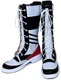 Halloween Cosplay Bottes Noir Avec Blanc Lace-up Unisex Bottes Carnaval Robe de Fantaisie pour Adulte