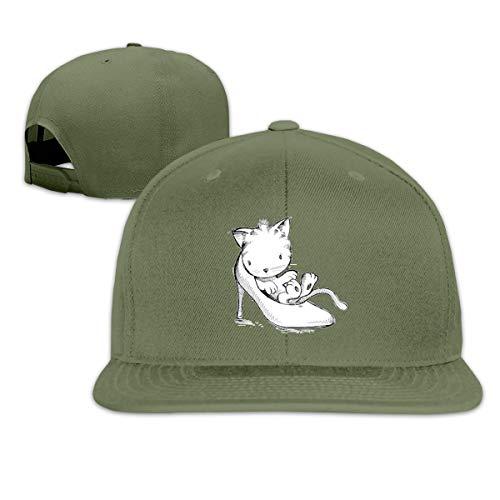 Osmykqe Kitten Sitting In High Heels Men's Cap Summer Baseball Caps Snapback Hat Lightweight Soft Cotton Flat Cap
