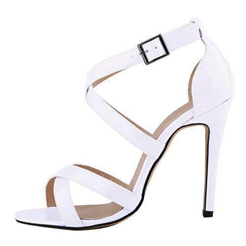 EKS , Sandales Plateforme femme Beige - White-Lackleder