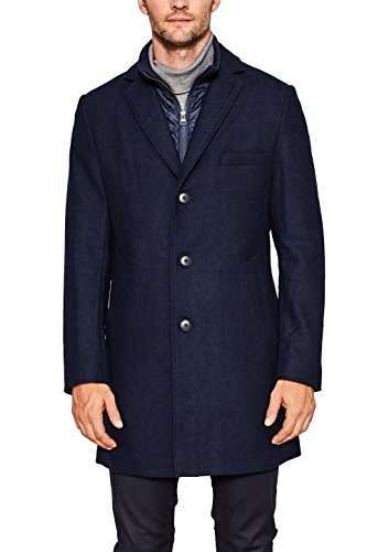 ESPRIT Collection Herren Mantel 107EO2G008 Blau (Navy 400), Small (Herstellergröße: 46)