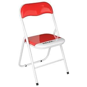 Premier Housewares Chaise de bureau pliante / Relax Rouge & Blanc