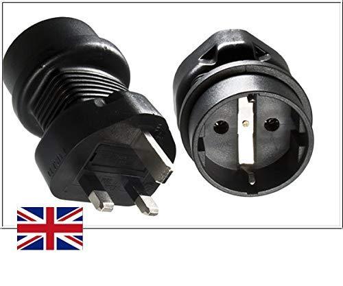 DINIC Reisestecker, Stromadapter für England 13A auf Schutzkontakt-Buchse, Netzadapter 3-polig UK