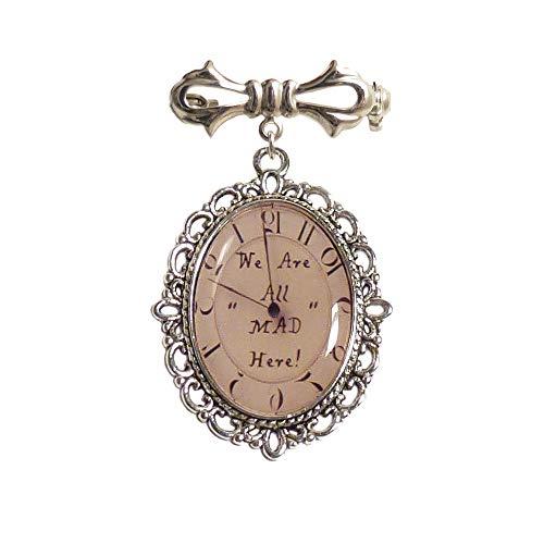 LunarraStar Damen Alice im Wunderland We Are All Mad Here Uhr Bild Bogen-Brosche aus Versilbert mit Oval ()
