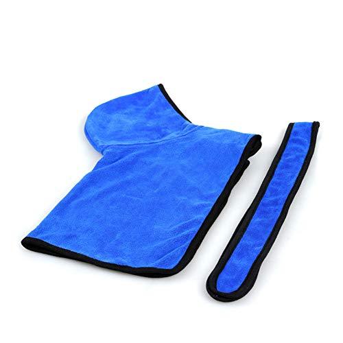 ebademantel-Superabsorbierendes Haustier-Tuch-mit Kapuze schnell trocknendes Badetuch für Katze, Hund Blau-S ()