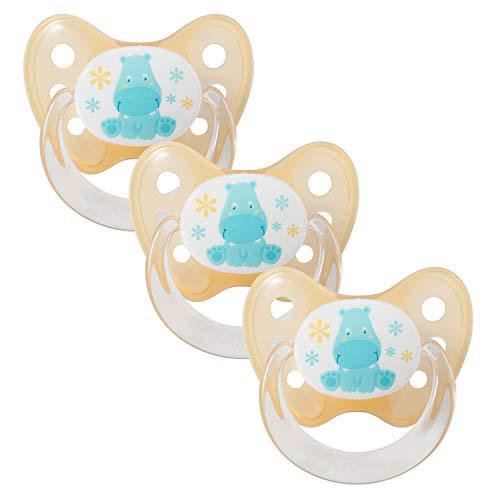 Dentistar® Schnuller 3er Set - Nuckel Silikon in Größe 1 von Geburt an, 0-6 Monate - zahnfreundlich & kiefergerecht - Beruhigungssauger für Babys - Nilpferd Orange (Halloween Oma Baby)