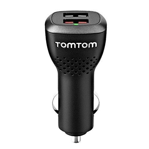 TomTom Caricatore USB Doppio ad Alta Velocità per Auto/Camper/Camion, Alimentazione a 12/24 V, Output 5 V, 2.4 A e 5 V, 1.5 A, Compatibile con Tutte le Periferiche, Incluso iPhone e Tablet