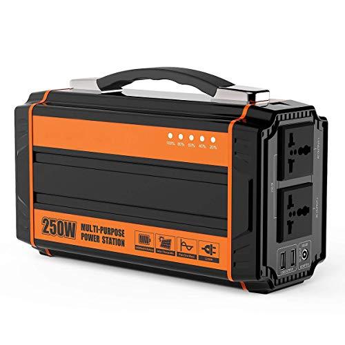 Tragbarer Generator 64500mAh / 240Wh Solarkraftwerk, Wechselrichter, Solarpanel/Adapter/Autoladegerät, Notstromversorgung im Freien