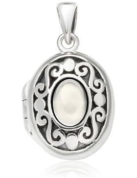 maYa Ovales, verziertes Medaillon aus Silber mit Perlmutt zum Öffnen 64624