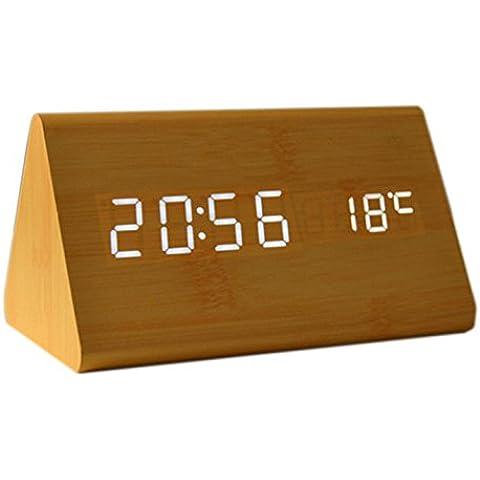Reloj de Alarma - SODIAL(R) (Control de voz Calendario Termometro)Madera Triangulo Reloj de Alarma Digital LED de madera USB / AAA Bambu Madera Blanco