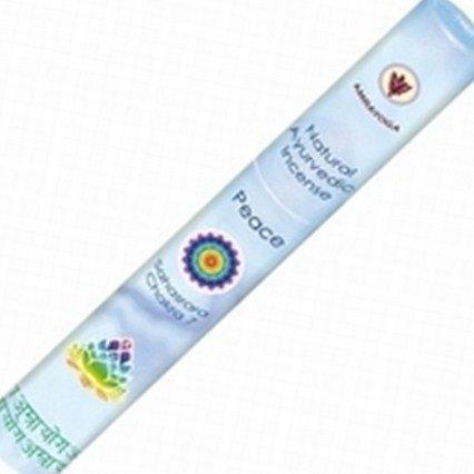 PEACE - Friede - Scheitel Chakra - Rundbox mit 18 aurvedischen Räucherstäbchen 15cm, Marke: Amrayoga