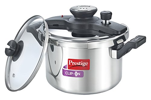 Prestige Clip On Stainless Steel Pressure Cooker with Glass Lid (5 Litres, Set of 2, Metallic Silver)