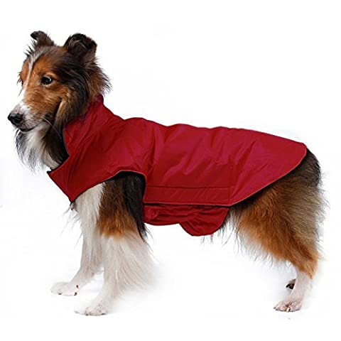 Waterproof Dog Coat Jacket, Akemiao Fleece Lined for Warmth, Chest Protector, Reflective Piping for Night Safety (2XL,