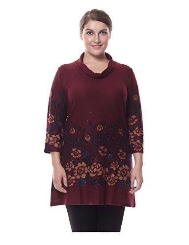 Chicwe Damen Tunika Kleid Große Größen Rollkragen Cashmere Touch mit Strass 52, Rot (Cashmere-rollkragen-kleid)