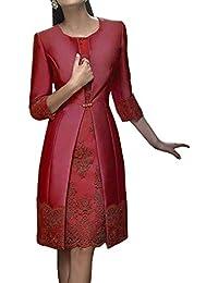 Due pezzi Donne Pizzo Abiti da ballo con giacca pizzo Corto Vestito da sera  Madre di 4792f307719