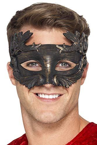 Smiffy's - Máscara Dios Guerrero metálico de la Mascarada, Color Negro (27556)