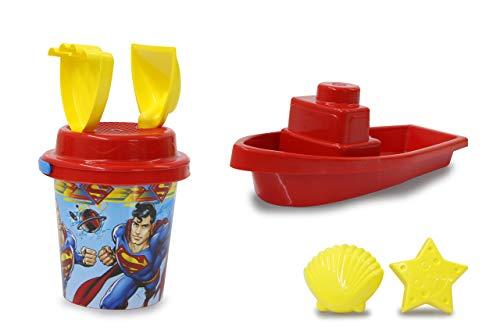 Jamara 410131 Superman - Juego de Cubos de Arena (7 Piezas, 2 moldes, 1 Barco, 1 colador de Arena), Color Rojo