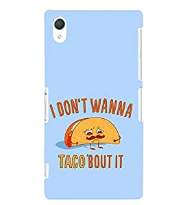 FUSON Taco Bout It 3D Hard Polycarbonate Designer Back Case Cover for Sony Xperia Z2 (5.2 Inches)