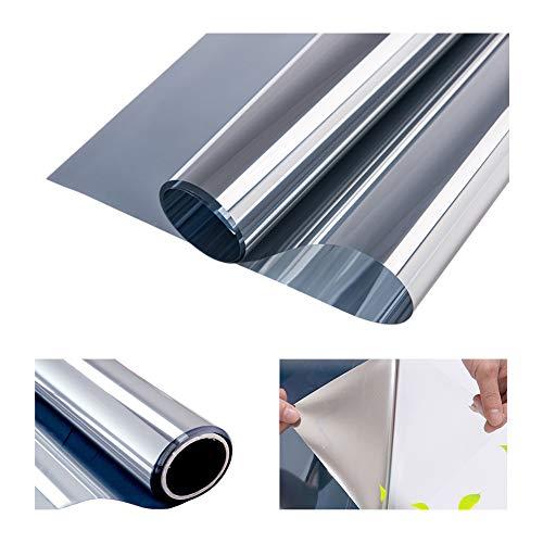 RH Art Sonnenschutzfolie mit Hitzeschutz UV-Schutz Blickdicht Privatsphäre Selbsthaftende Spiegelfolie Silber, 60 x 200 cm